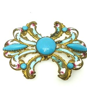 Victorian Turquoise Cabochon Champleve Belt Buckle